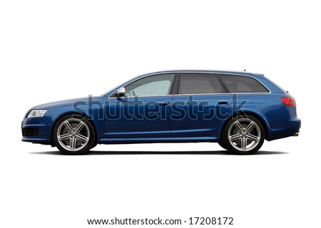 High performance family estate car isolated on black - stock photo