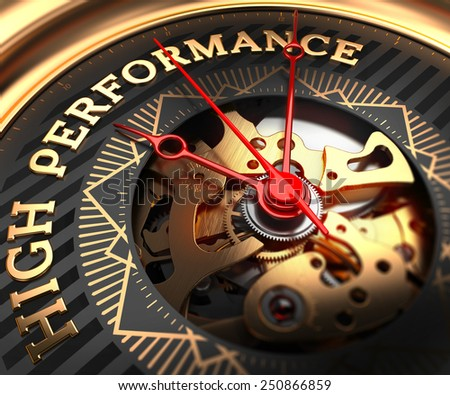 High Performance on Black-Golden Watch Face with Watch Mechanism. Full Frame Closeup.  - stock photo