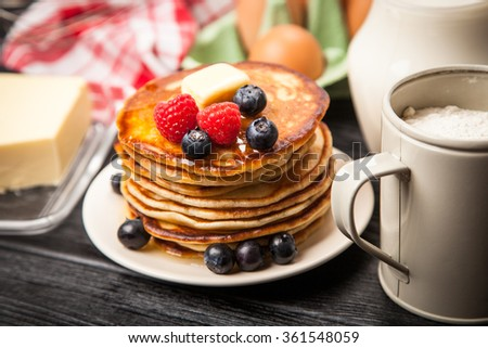 High pile of delicious pancakes - stock photo