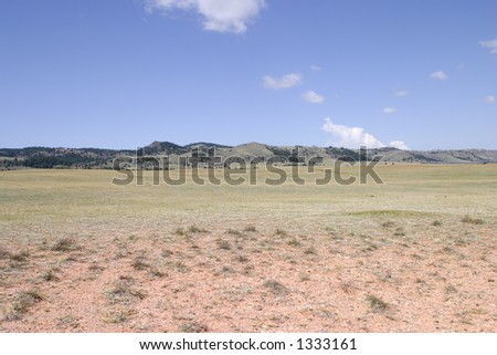 High plains during summer, on the border of Colorado and Wyoming near Laramie. - stock photo