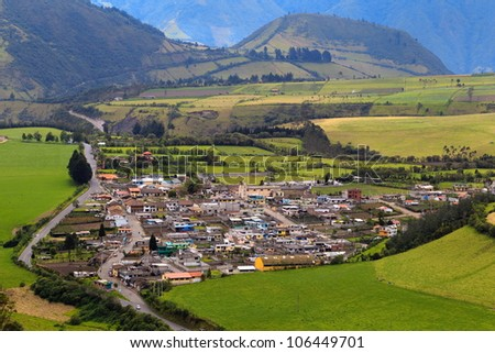 High point of view of the city of Lloa, small town near capital of Quito, Ecuador - stock photo