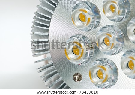 High power LED light bulb on a white background - stock photo