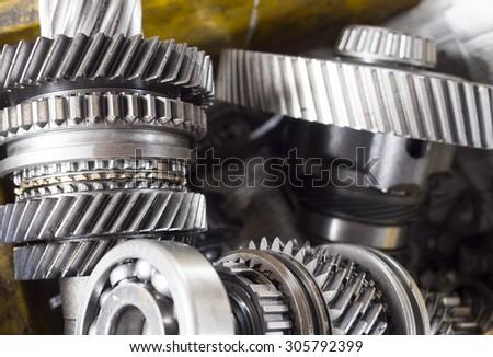 high precision automotive steel gear box close-up - stock photo