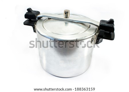 High pressure aluminum cooking pot isolated on white - stock photo