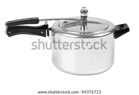 High pressure aluminum cooking pot with safety cover an image isolated  - stock photo
