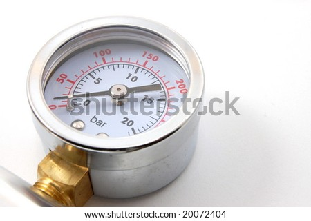 high pressure barometer of a pump on white background - stock photo