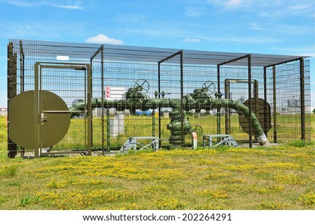 high pressure oil and gas pipe - stock photo
