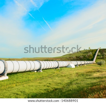 high pressure pipeline for gas transporting . - stock photo