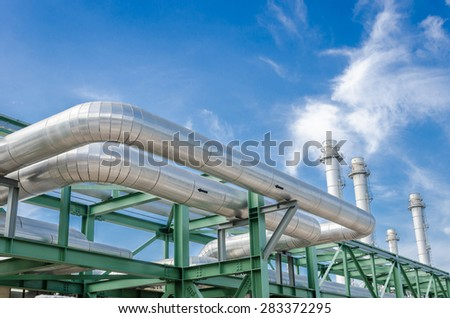 High pressure pipeline for gas transporting by The stainless steel - stock photo