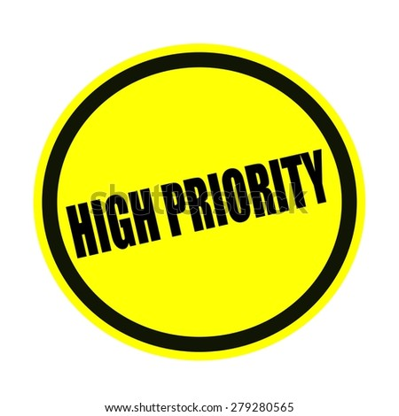 High priority black stamp text on yellow
