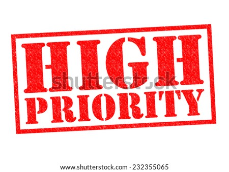 HIGH PRIORITY red Rubber Stamp over a white background.