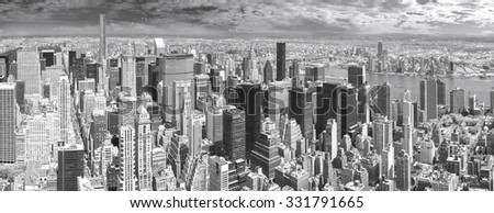 High quality black and white panoramic view of Manhattan, New York, USA. - stock photo