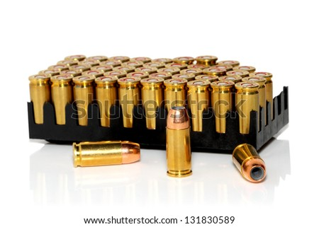 High quality bullets on white - stock photo