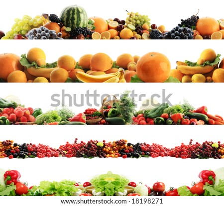 High quality collection of fruits and vegetables borders on a white background - stock photo