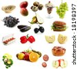 High quality collection of fruits and vegetables on white background - stock photo