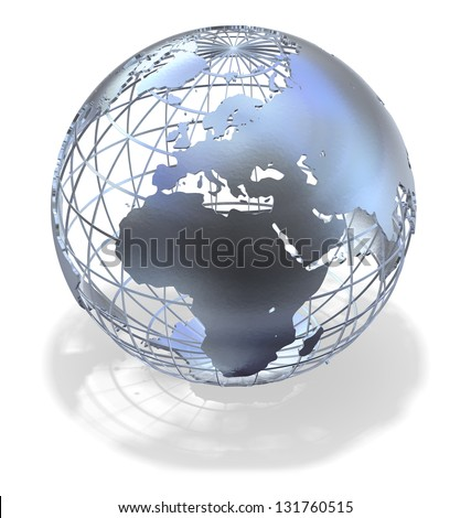 High quality 3D art showing a caged metallic structure of the earth casting a shadow over white. - stock photo