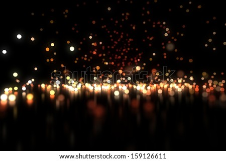 High quality 3D glow particles bounce on a reflective floor as light background with magic style for any kind of beauty, christmas, holidays, models, night and product projects. - stock photo