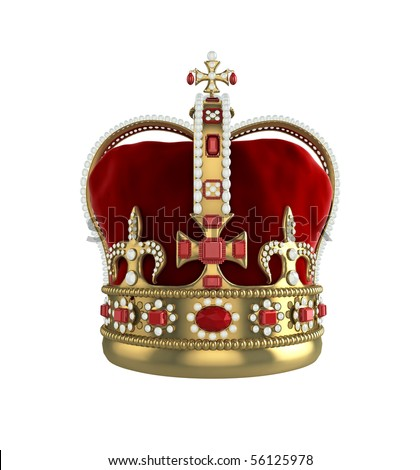 High quality 3d illustration front view of a king or queens crown