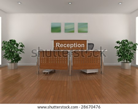 High quality 3d illustration of a reception area. - stock photo