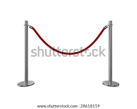 High quality 3d illustration of a VIP area rope barrier, isolated on a white background. - stock photo