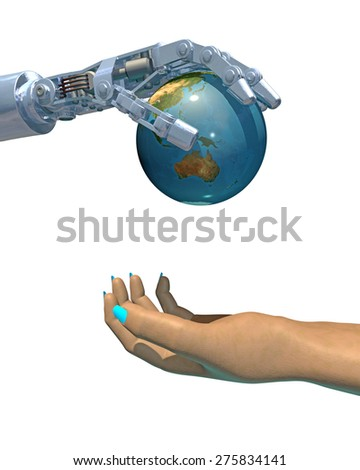 High-quality 3D render of a robot hand giving a globe to a female human hand. White background, focused on Australia and Asia. (Earth texture from NASA - earthmap http://visibleearth.nasa.gov) - stock photo