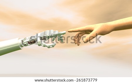 High quality 3D render of a robot hand touching a human hand, representing the relationship between human and artificial intelligence. Dramatic orange overcast sky.  - stock photo