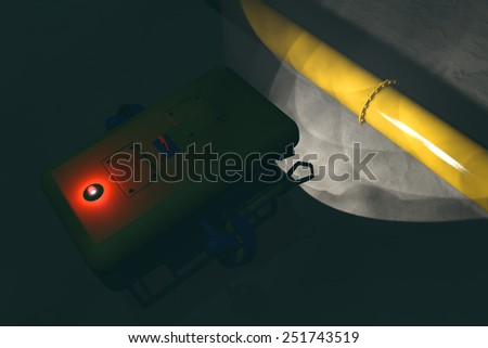High quality 3D render of an ROV submersible locating a sub-sea pipeline deep underwater. Fictitious ROV is a unique design, created and modeled entirely by myself. Murky water to emphasize depth. - stock photo