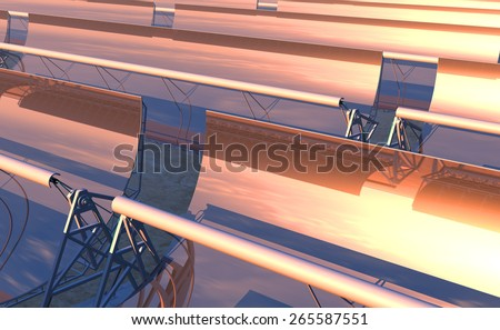 High Quality 3D render of concentrated solar power (CSP) panels tracking the sun in the desert. Early evening yellow-orange sky with the sun just moving lower on the reflected horizon.  - stock photo