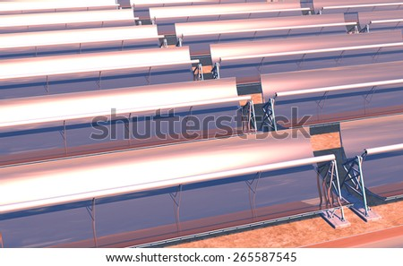 High Quality 3D render of concentrated solar power (CSP) panels tracking the sun in the desert. Mid-afternoon sun just starting to descend on the reflected horizon. - stock photo
