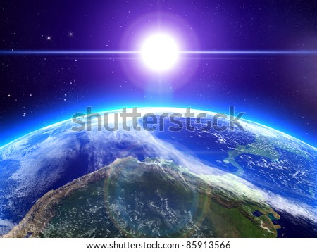 High quality 3d render. Rising sun and the earth in space - stock photo