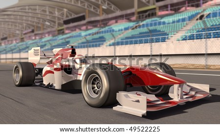 high quality 3d rendering of a formula one race car on track - own car design - no copyright/trademark infringement