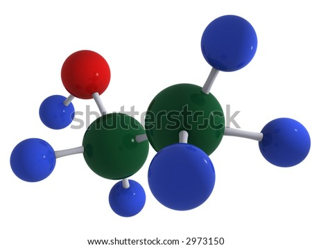 High quality 3D rendering of alcohol (ethanol) molecule C2H5OH. Isolated over white. Reflections.