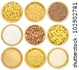 High Quality, Detailed Set or Collection of Dry Uncooked Pasta, Macaroni, Peas, Buckwheat, Sugar, Haricot, Millet and Rice Cereals in a round Bamboo Serving Bowl isolated on the white background - stock photo