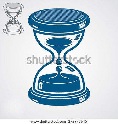 high quality dimensional sand-glass, includes additional version. Antique decorative liquid 3d hourglass. Vintage clock with water drops. Time conceptual stylized icon. - stock photo