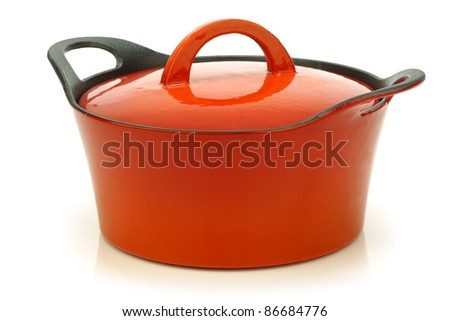 high quality enamel  frying pan with cover on a white background - stock photo