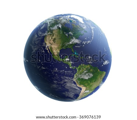 High quality ender of Earth. North and South America is in focus. Water, shaded relief, natural colours and clouds coverage. Isolated on white. Clipping map included. World map courtesy of NASA.