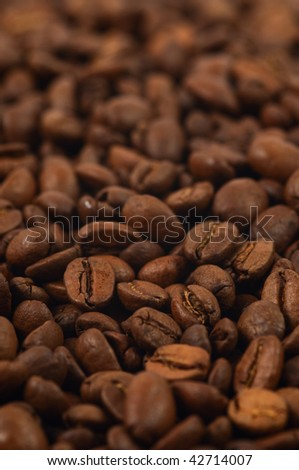 High quality fresh roasted coffee beans. Close-up. Shallow DOF. - stock photo