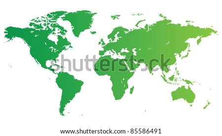High quality green map of the World. - stock photo