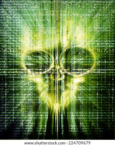 high quality hacker attack digital illustration with skull - stock photo