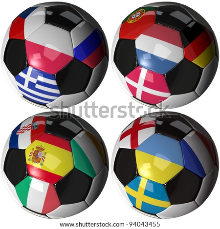 High quality, hi-res 3D render of four soccer balls carrying the flags of all sixteen competing teams of the 2012 European Soccer Championship ordered by groups. Clipping pathes included. - stock photo