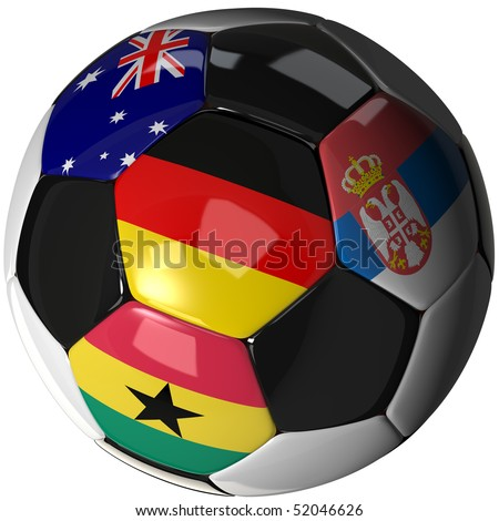 High Quality, hi-res 3D render of soccer ball with the four flags of the competing teams - stock photo