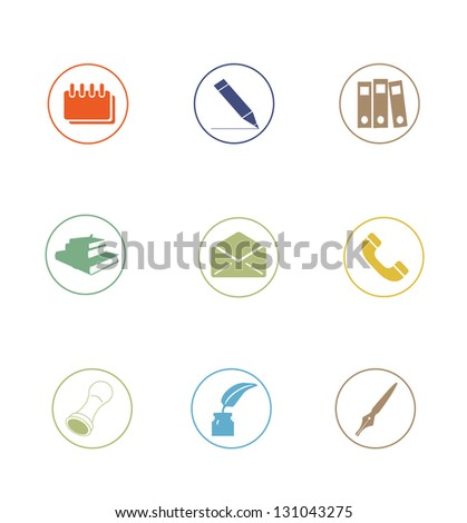 High Quality Icon Sets - business office education - stock photo