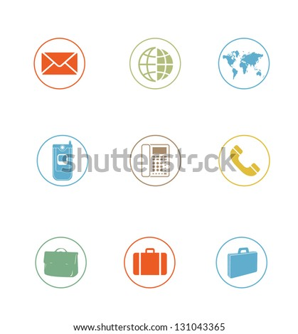 High Quality Icon Sets - world phone contact - stock photo