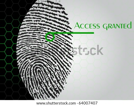 "high quality illustration of a fingerprint being scanned which says ""access granted"""