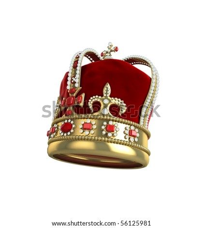 High quality illustration of a king or queens crown, on a white background - stock photo