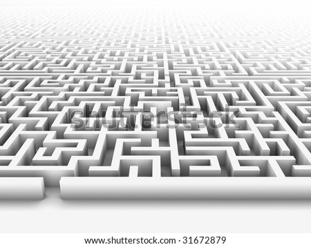 High quality illustration of a large maze or labyrinth. Please see my portfolio for more in the series. - stock photo