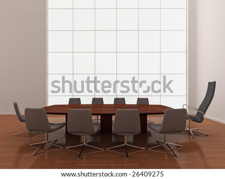 High quality illustration of a large modern boardroom, or meeting room with large window. - stock photo