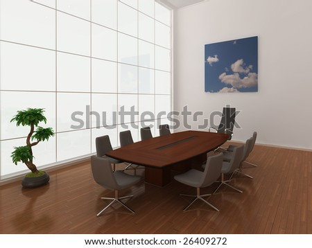 High quality illustration of a modern, minimal boardroom or meeting room with extra large window. - stock photo