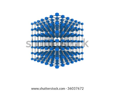 High quality illustration of a network of glossy blue cubes, connected by a wire frame - stock photo
