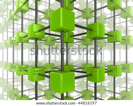 High quality illustration of a network of glossy green cubes, connected by a wire frame - stock photo